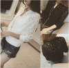 เสื้อคลุมแฟชั่น ฉลุลายดอกไม้ สีดำ / สีขาว