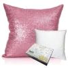 หมอนอิง Sequin Pillow Cushion Cover Pillow Case ขนาด 18 x 18 inch 45 cm. (สีชมพูซากุระ)