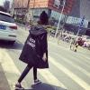 เสื้อคลุมฮู้ด ทรงยาวสไตล์เกาหลี ผ้าร่มเนื้อเรียบ ไม่หนา สีดำ