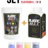 เซ็ตเม็ดพลาสติก แม๊กซ์ (พลาสติกมหัศจรรย์ปั้นได้) ไซส์ L + เม็ดพลาสติกสี 4 สี CMYK - SET PLASTIC MAX SIZE : L + CMYK COLOR - Moldable Plastic for DIY CRAFT ART
