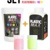 เซ็ตเม็ดพลาสติก แม๊กซ์ (พลาสติกมหัศจรรย์ปั้นได้) ไซส์ L + เม็ดพลาสติกสีสะท้อนแสง 2 สี - SET PLASTIC MAX SIZE : L + NEON COLOR - Moldable Plastic for DIY CRAFT ART