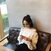 เสื้อแฟชั่นโชว์ไหล่ น่ารักสไตล์เกาหลี สีขาว