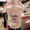 เสื้อคลุมแฟชั่น มีฮู้ด ซิปหน้า ด้านหลังลายอักษร Quality Chick สีชมพู