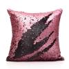 หมอนอิง Luxury reverse colors Mermaid sequin throw pillows ขนาด 18 x18 นิ้ว( Pink & Black) - สีชมพูและดำ
