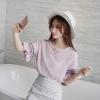 เสื้อแฟชั่นเกาหลี แขนสั้นต่อระบาย สีชมพู