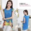 เสื้อแฟชั่นเกาหลี ชีฟองฉลุลายดอกไม้ สีฟ้า