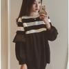เสื้อแฟชั่นเกาหลีแขนยาว สีดำ ตัดต่อช่วงบนลายริ้ว สีขาวดำ
