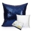 หมอนอิง Sequin Pillow Cushion Cover Pillow Case ขนาด 18 x 18 inch 45 cm. (สีน้ำเงิน)
