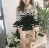 เสื้อแฟชั่นสไตล์เกาหลี แต่งระบาย สีดำ