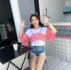 เสื้อแฟชั่น แต่งผ้าลายสก๊อตแขนระบายสองชั้นสุดน่ารักสไตล์เกาหลี-สีแดง