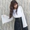 เสื้อแฟชั่น แขนยาว แต่งด้ายดิ้นเงินสวยเท่ห์สไตล์เกาหลี สีขาว