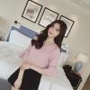 เสื้อแฟชั่นคอวี คอเสื้อแต่งสายห้อยมุก สีชมพู