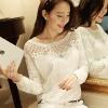 เสื้อแขนยาวแฟชั่นเกาหลี ผ้าลูกไม้ แต่งคริสตัล สีขาว