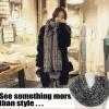 ผ้าพันคอ ไหมพรม เกาหลี สีเทาลาย เข้าได้กับทุกชุด