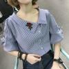 เสื้อเชิ้ตแฟชั่น คอปกเฉียง ปักลายกุหลาบ แขนผูกโบว์ สีน้ำเงิน