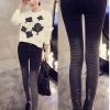 กางเกงยีนส์แฟชั่น แต่งขาดปลายขา สีไล่ระดับ โทนสีดำ