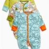 ชุดบอดี้สูท ลายซาฟารี แพค 3 ตัว Green Safari All-Over Print Sleepsuits Three Pack
