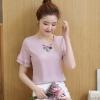 เสื้อแฟชั่น คอแต่งดอกไม้ ปลายแขนระบาย สีชมพู