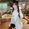 เสื้อเชิ้ตแฟชั่นเกาหลี ผ้าโทเรตัดต่อผ้าลูกไม้ สีขาว