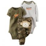 บอดี้สูท 3 ชิ้น ลายลิงน้อย 3-Piece Bodysuit & Pant Set