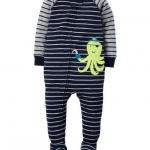 บอดี้สูทยาว ลายปลาหมึก ไซส์ : 18 เดือน 1-Piece Snug Fit Cotton PJs 18M