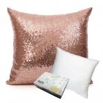 หมอนอิง Sequin Pillow Cushion Cover Pillow Case ขนาด 18 x 18 inch 45 cm. สีทองดอกกุหราบ