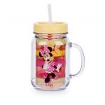 แก้วน้ำ มินนี่เมาส์ พร้อมหลอดดูด Minnie Mouse Jelly Jar with Straw - Small