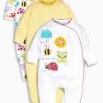 ชุดบอดี้สูท ลายพระอาทิตย์ แพค 3 ตัว Yellow Sunshine Print Sleepsuits Three Pack