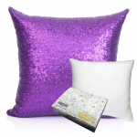 หมอนอิง Sequin Pillow Cushion Cover Pillow Case ขนาด 18 x 18 inch 45 cm. (สีม่วง)