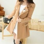 สีกากี-LADY COAT เสื้อโค้ทกันหนาว ทรงหวานๆ สไตล์เกาหลี