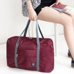 กระเป๋าพับเก็บได้ ใส่บนกระเป๋าล้อลาก สะพายไหล่ได้ (สีเลือดหมู)