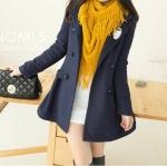 DARK BLUE-LADY COAT เสื้อโค้ทกันหนาว ทรงหวานๆ สไตล์เกาหลี