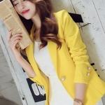 เสื้อสูทแฟชั่น ใส่ทำงาน สไตล์เรียบหรู สีเหลือง S-2XL