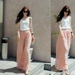กางเกงขายาวแฟชั่นเกาหลี ผ้าชีฟอง สีชมพู