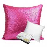 หมอนอิง Sequin Pillow Cushion Cover Pillow Case ขนาด 18 x 18 นิ้ว 45 cm. (สีชมพู)