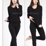 ลองจอนหญิงสีดำ รุ่นวุลพรีเมี่ยม เสริมผ้าฟรีซเพิ่มตลอดทั้งตัว *** (ทั้งชุด เสื้อ+กางเกง) buy1get1