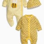 ชุดบอดี้สูท ลายผึ้ง แพค 2 ตัว พร้อมหมวก Yellow Bee Sleepsuits Two Pack With Hat