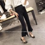 กางเกงขายาว 5 ส่วน ผ่าหน้าเก๋ ๆ สไตล์เกาหลี สีดำ