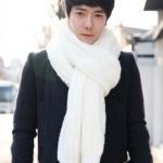 สีขาว ผ้าพันคอไหมพรมเกาหลี ใส่ได้ทั้งผู้ชายและผู้หญิง