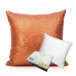 หมอนอิง Sequin Pillow Cushion Cover Pillow Case ขนาด 18 นิ้ว x 18 นิ้ว (45cm) – สีส้ม