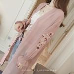 เสื้อคลุมแฟชั่น คาร์ดิแกน ปักลายดอกไม้ สีชมพู