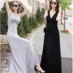 Maxi dress ชุดเดรสยาวคอวีแขนกุด สวยเซ็กซี่