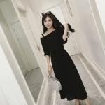 Maxi dress เดรสยาวคอเอียง มีสายบ่า สีดำ