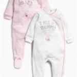 ชุดบอดี้สูท ลายมัมมี้ แอนด์ แดดดี้ แพค 2 ตัว Pink/Cream Mum And Dad Sleepsuits Two Pack
