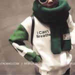 สีเขียว ผ้าพันคอไหมพรม เท่ห์ ๆ สไตล์เกาหลี