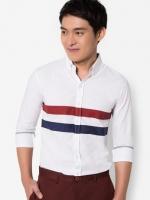 เสื้อเชิ๊ตแขนยาว ดีไซน์สกรีนคาดกลางทุโทน สีขาว