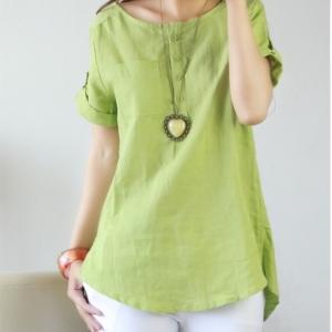 เสื้อแฟชั่นเกาหลี แขนสั้น แต่งพับปลายแขน สีเขียว