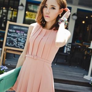 ชุดจั๊มสูทแขนกุด กางเกงกระโปรงขาสั้น สีชมพู