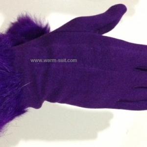 ถุงมือ หนังกลับ แต่งเฟอร์ข้อมือ บุวูลด้านใน สีม่วงเข้ม งานนำเข้าเกรดพรีเมี่ยม