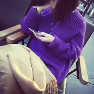 Sweater เสื้อไหมพรมถักตัวยาว สีม่วง